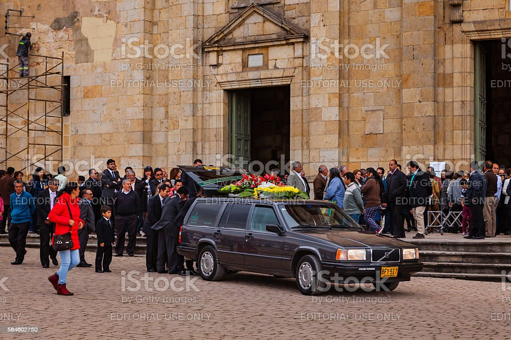 Colombia: funeral mass just concluded,  Zipaquira church on the plaza stock photo