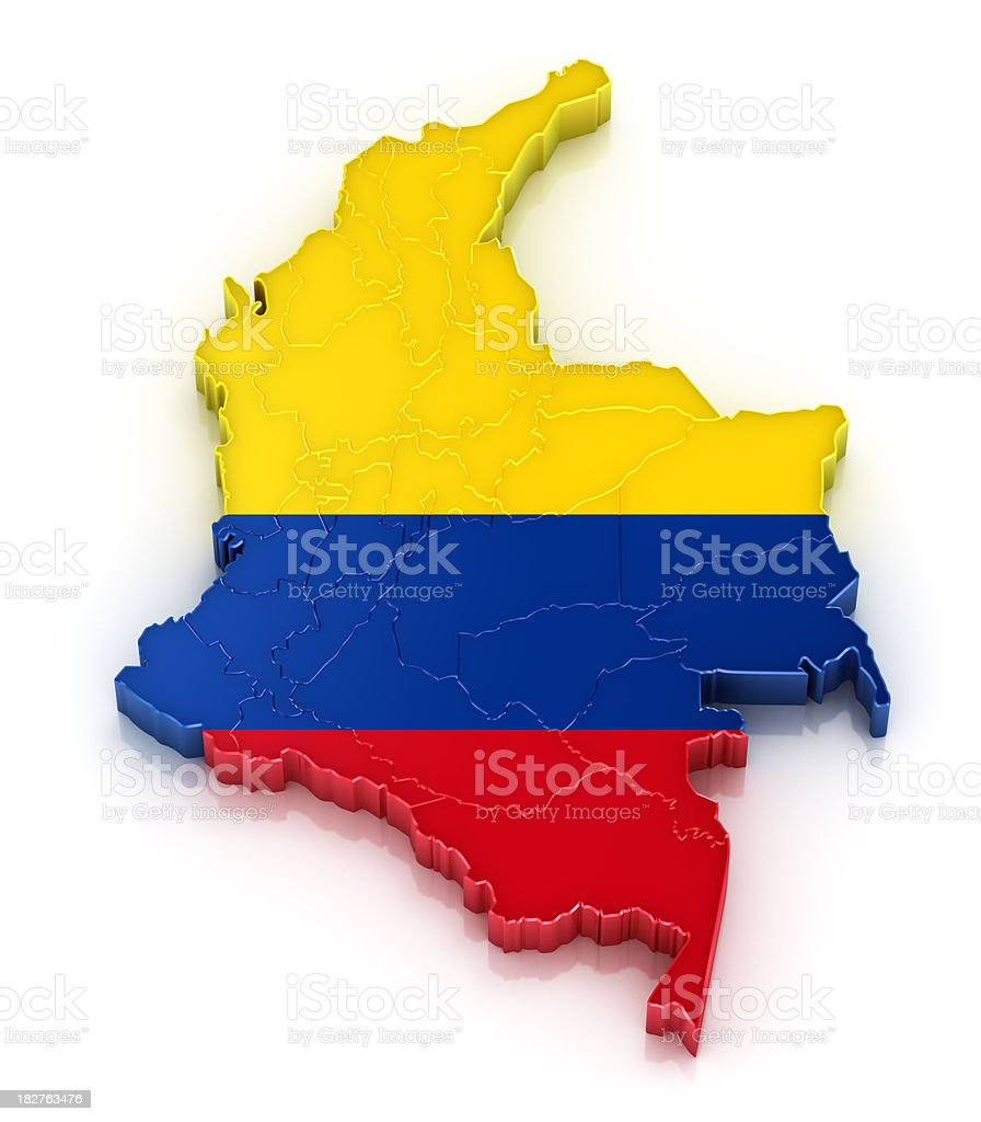 Colombia map with flag royalty-free stock photo