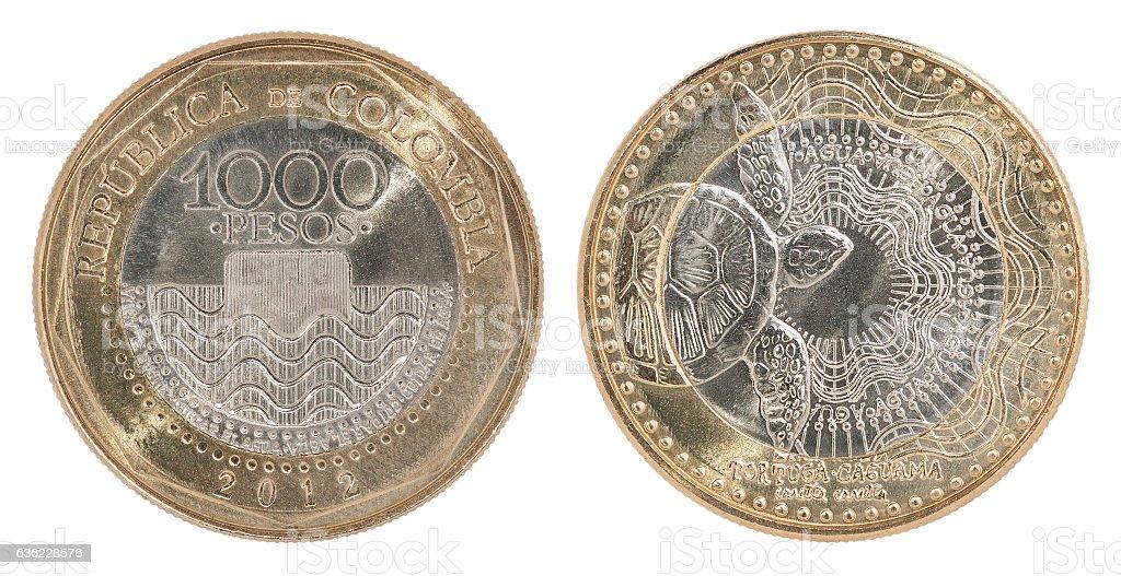 Colombia pesos coin set stock photo