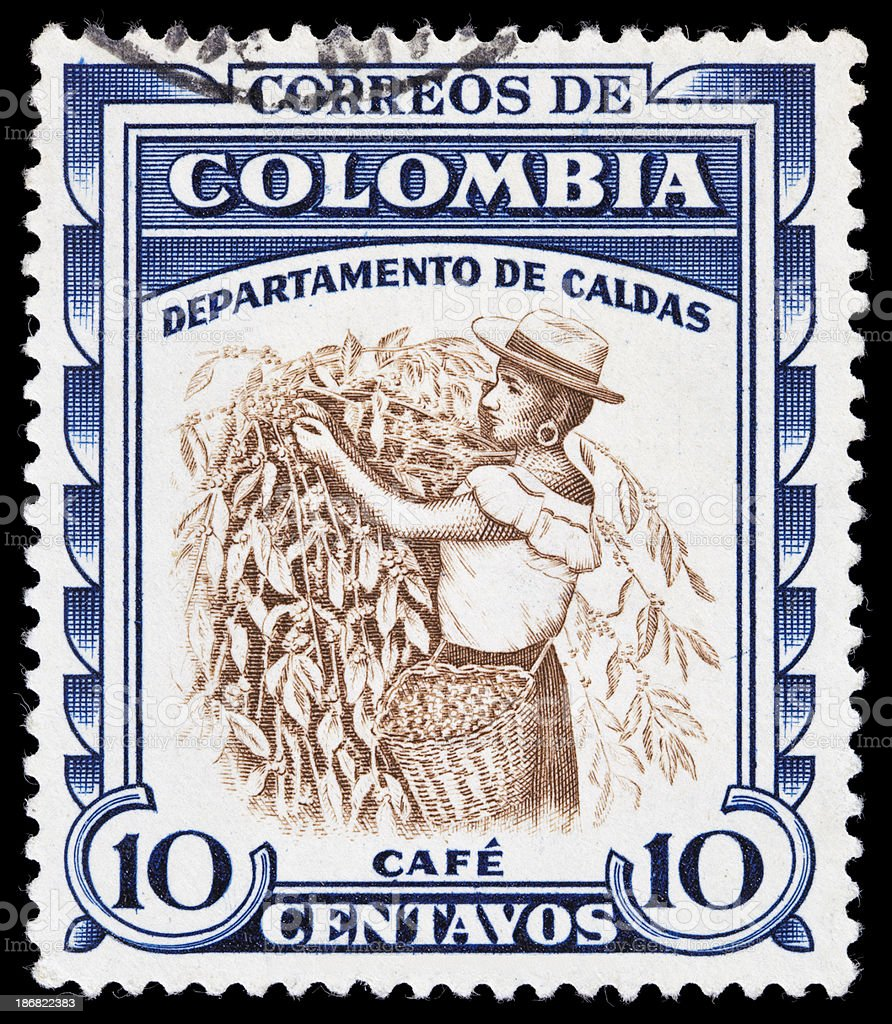 Colombia picking coffee beans postage stamp royalty-free stock photo