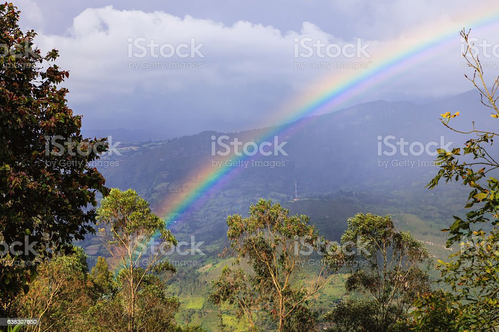 Colombia - Rainbow over the Andes Mountains. Pastoral Scene. stock photo