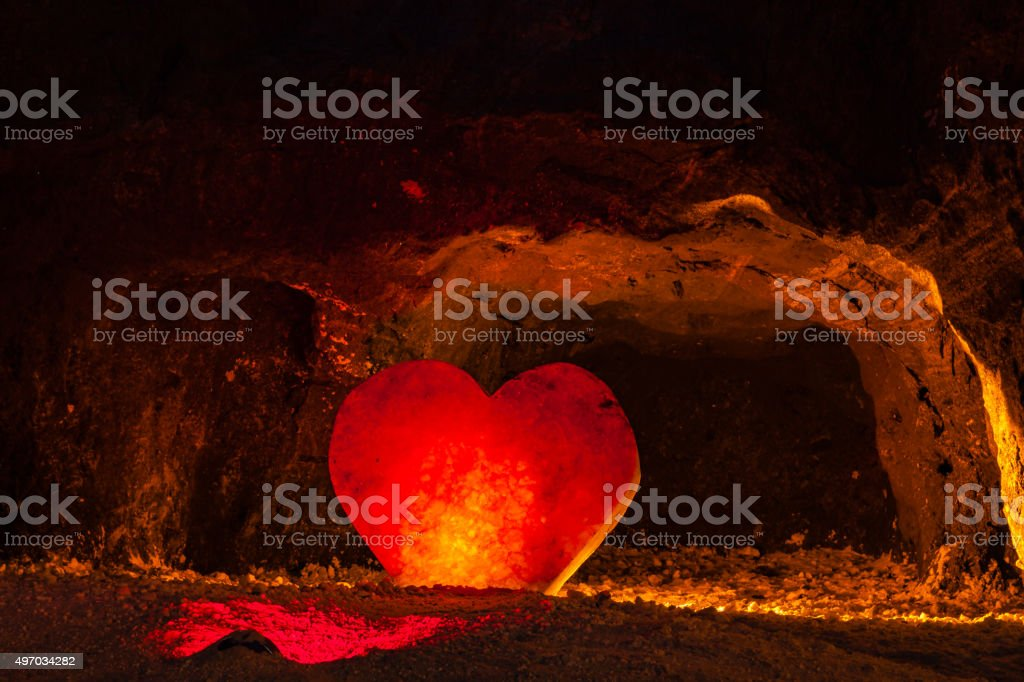 Colombia, South America: LED lights; old Halite mine in Nemocón stock photo