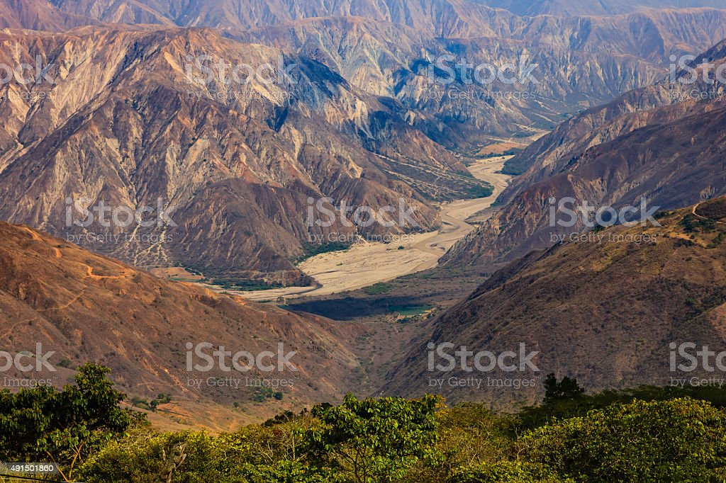 Colombia - The chicamocha canyon in Santander Department stock photo