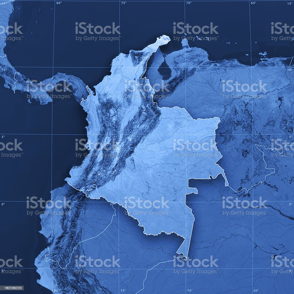Colombia Topographic Map royalty-free stock photo