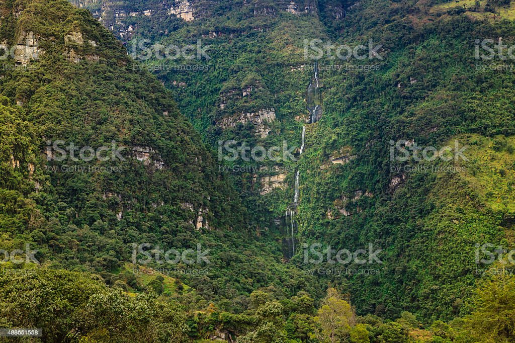 Colombia Waterfall - Cascada La Chorrera near Choachi stock photo