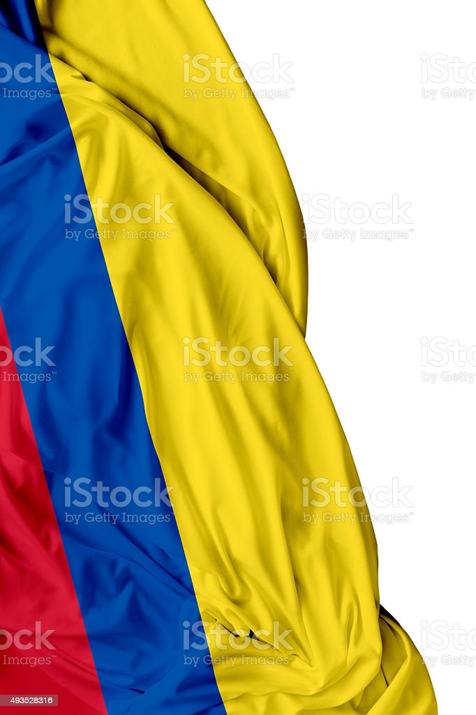 Colombia waving flag on white background stock photo