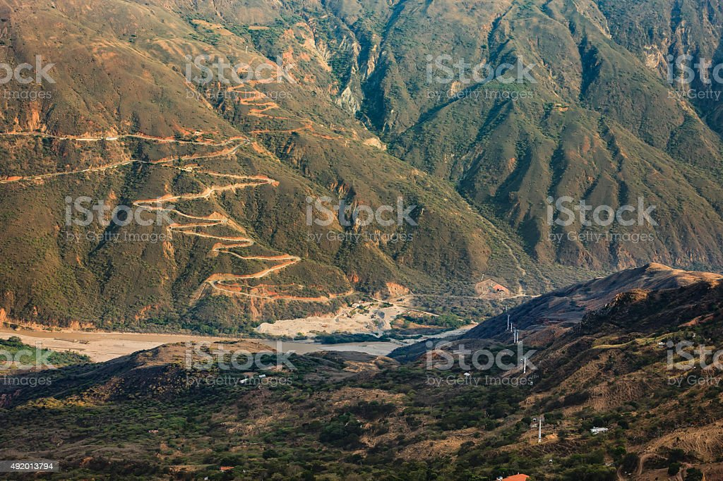 Colombia - Winding roads in Chicamocha Canyon  Santander Department stock photo