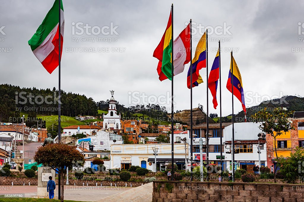 Colombia, Zipaquirá: Looking from Independence Square to Chapel on hillside stock photo