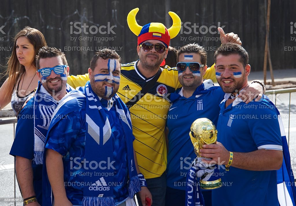 Colombian and Greece soccer fans stock photo