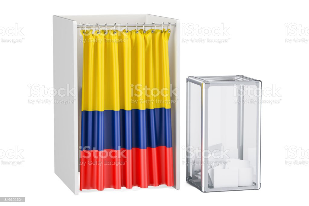 Colombian election concept, ballot box and voting booths with flag of Colombia, 3D rendering isolated on white background stock photo