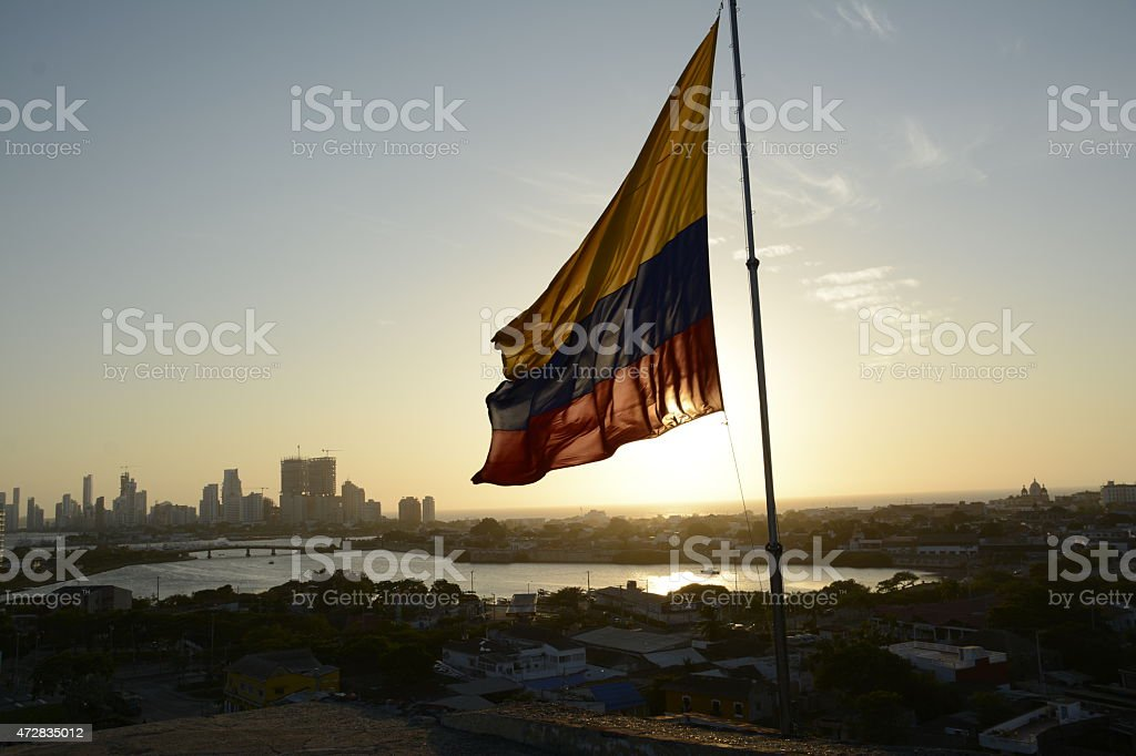 Colombian Flag at Dusk stock photo