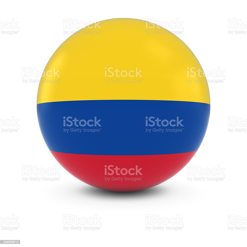 Colombian Flag Ball - Flag of Colombia on Isolated Sphere stock photo