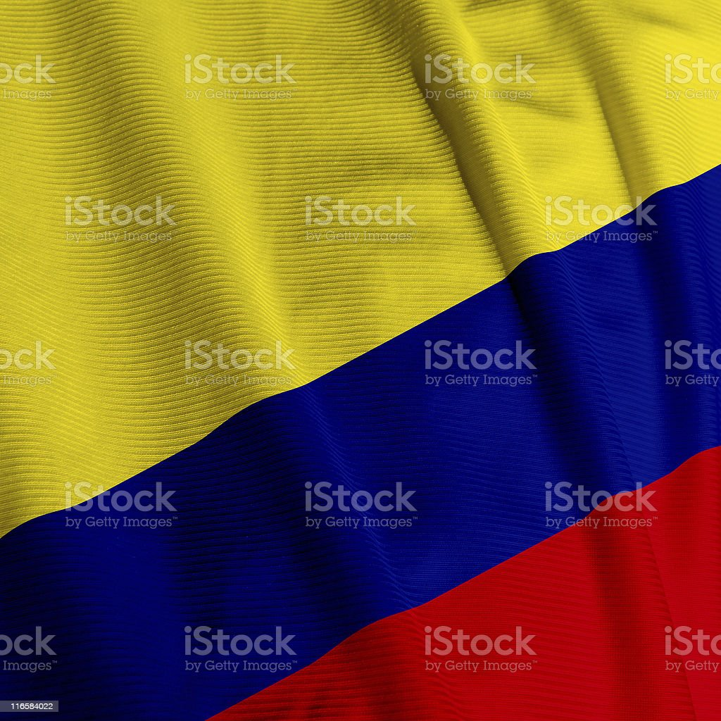 Colombian Flag Closeup royalty-free stock photo