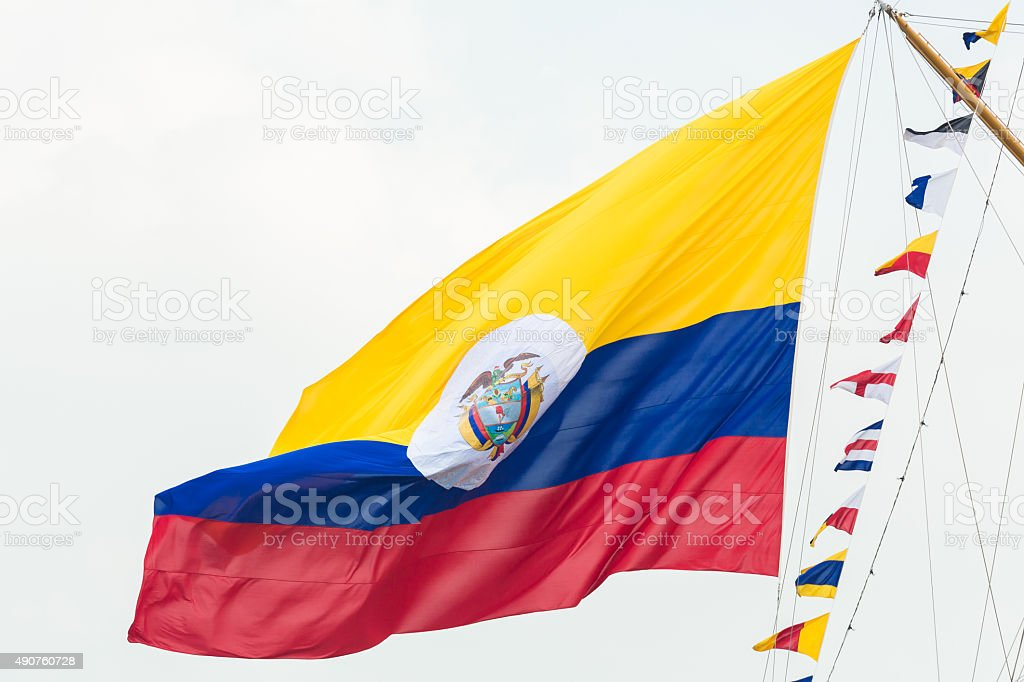Colombian flag - Sail Amsterdam 2015 stock photo