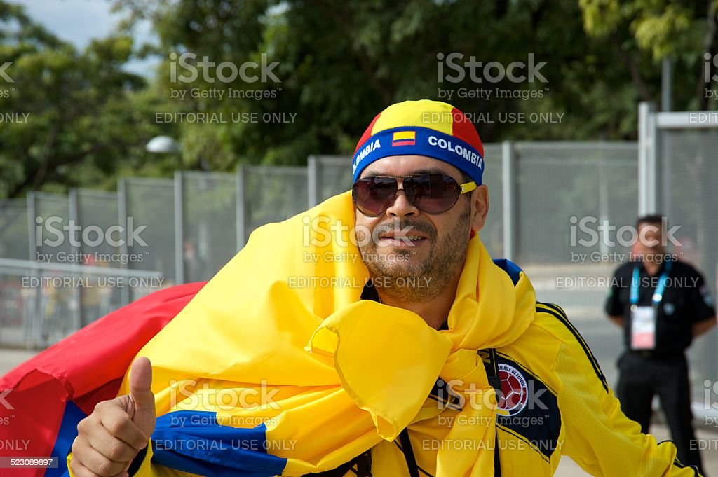 Colombian soccer fan stock photo