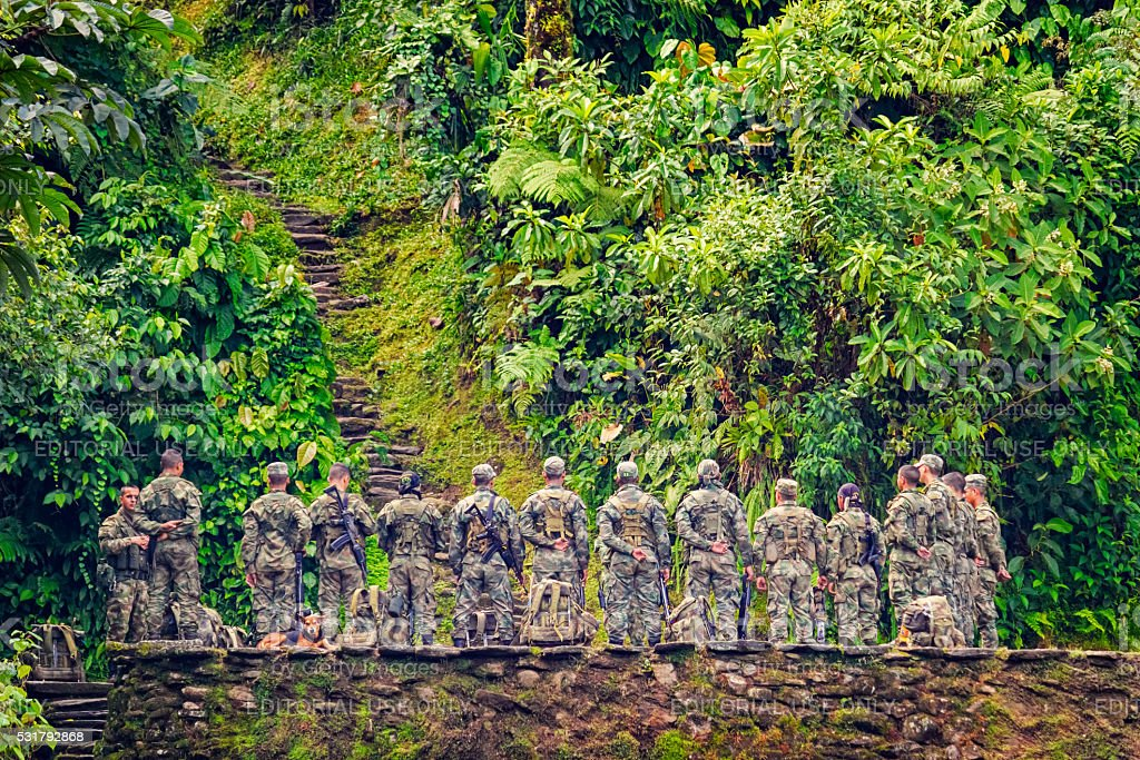 Colombian Soldiers at Ciudad Perdida in Jungle of Colombian Highlands stock photo
