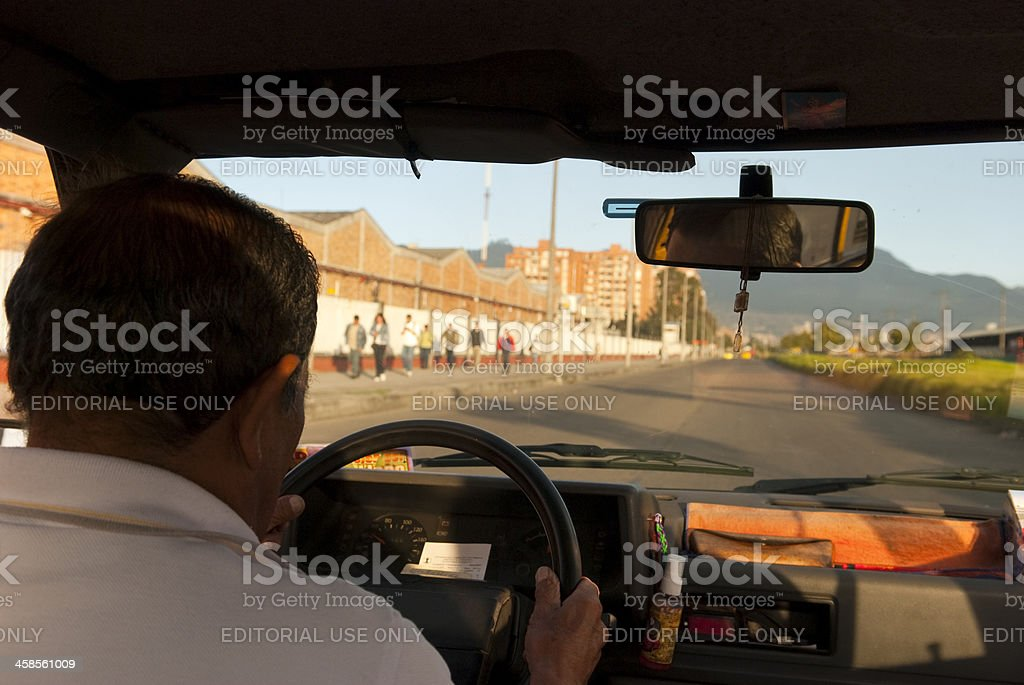 Colombian taxi driver in Bogota royalty-free stock photo