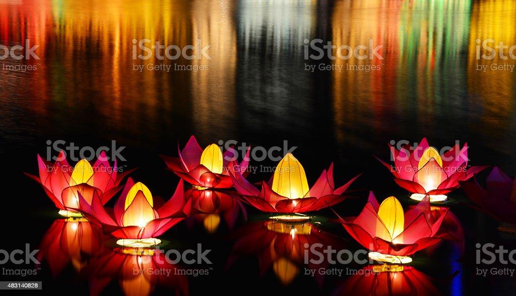 Colombo at night on Vesak Day stock photo