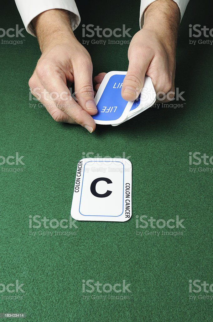 Colon cancer card in life concept series stock photo