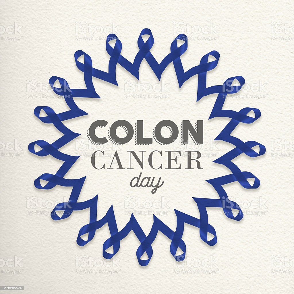 Colon cancer day awareness design made of ribbons stock photo