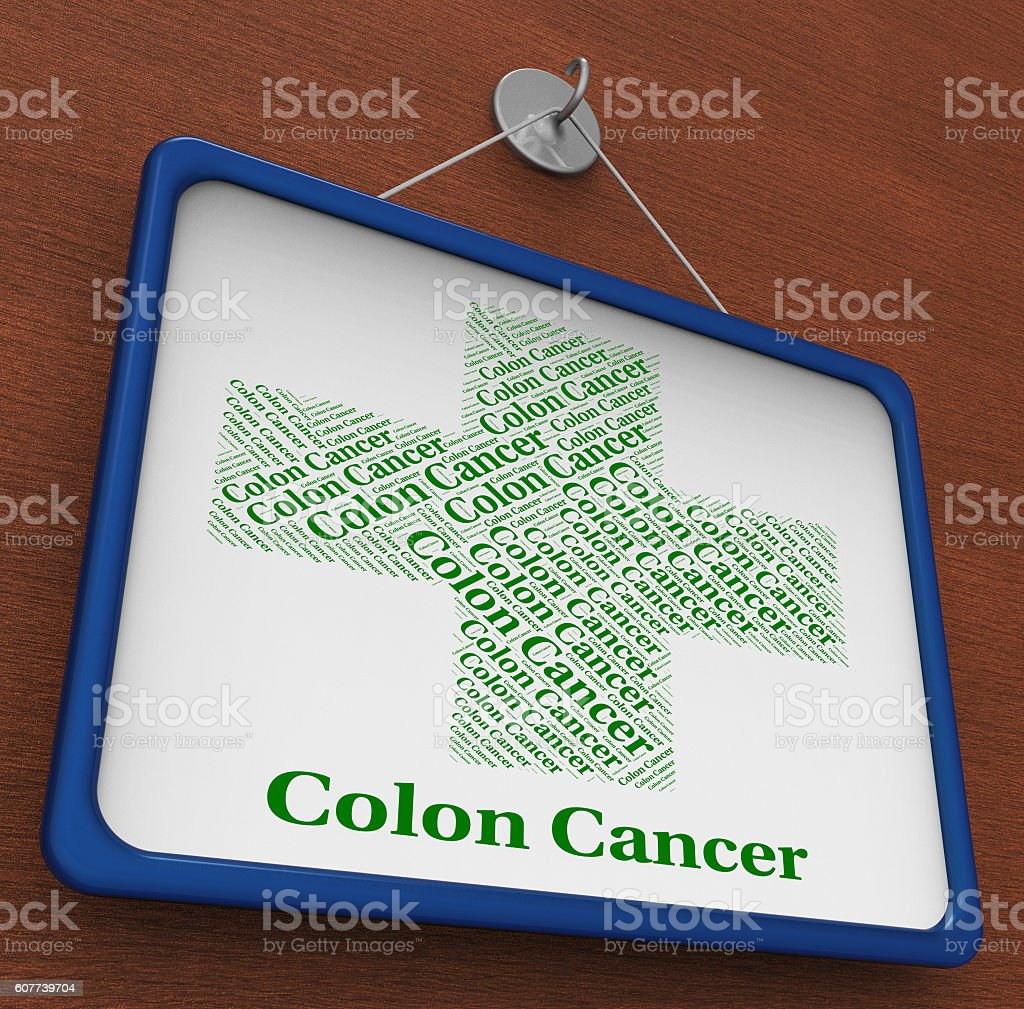 Colon Cancer Represents Cancerous Growth And Attack stock photo