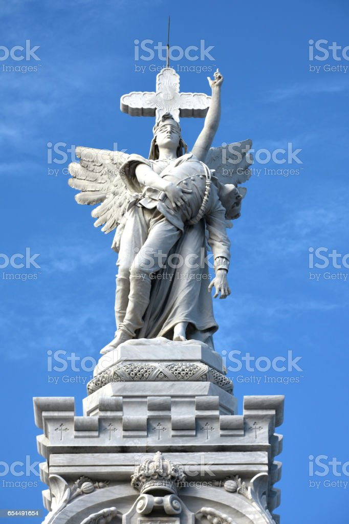 Colon Cemetery Firefighters Monument Angel stock photo