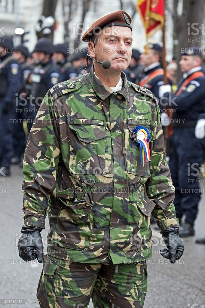 Colonel, head of military parade, inspects troops stock photo