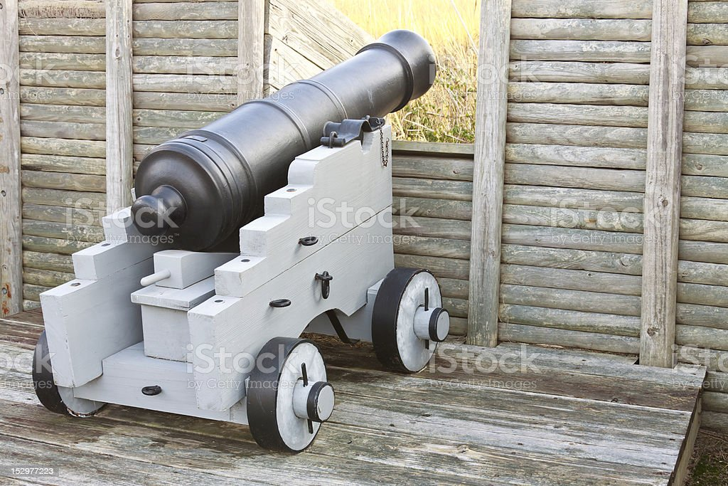 Colonial America Era Canon At Wood Fort stock photo