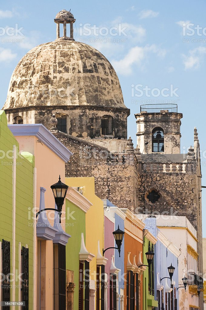 Colonial architecture in Campeche (Mexico) stock photo