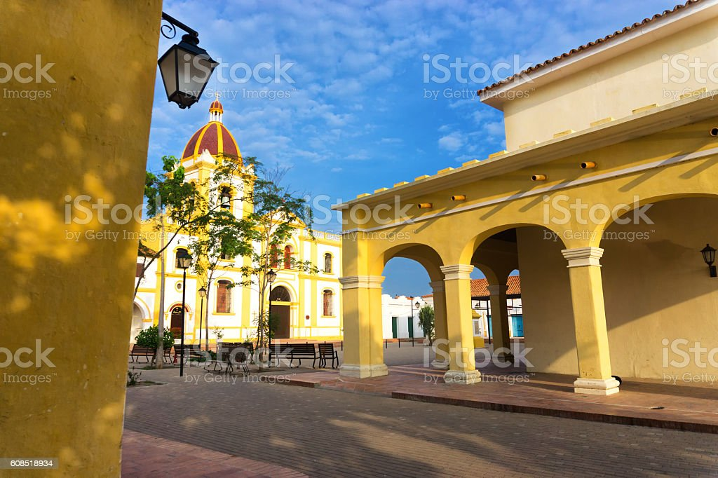 Colonial Architecture in Mompox, Colombia stock photo