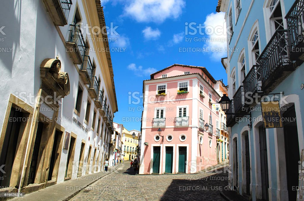 colonial architecture in the lanes of pelourinho in Salvador stock photo