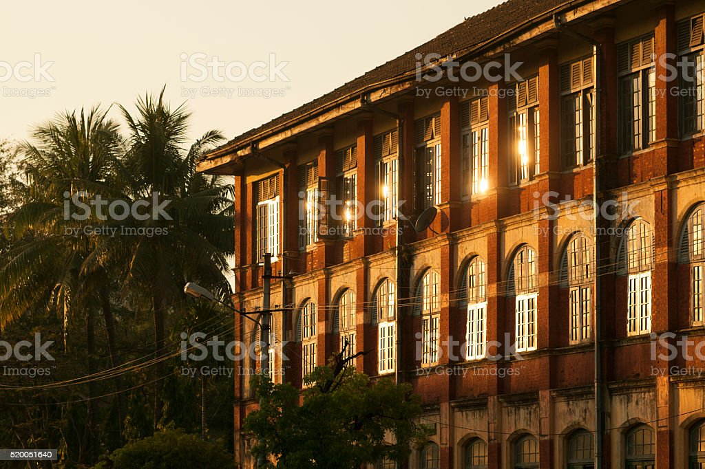 Colonial Architecture in Yangon Myanmar stock photo