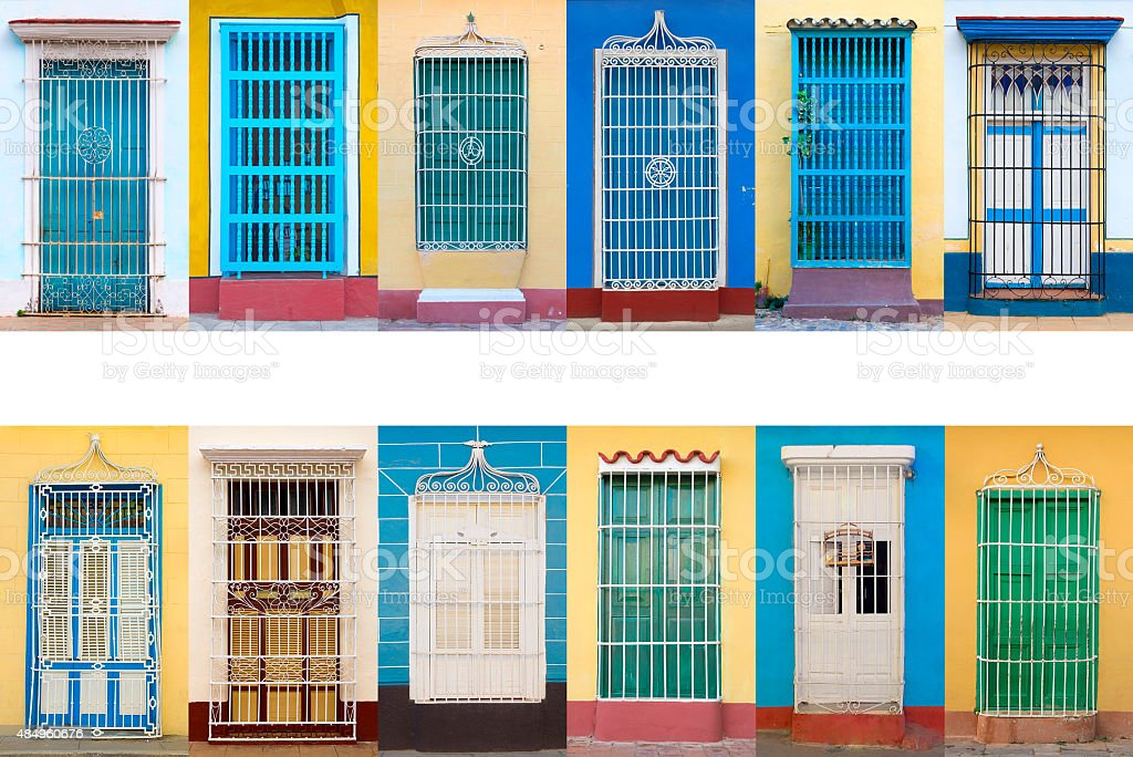 Colonial architecture of Cuba, Trinidad windows stock photo