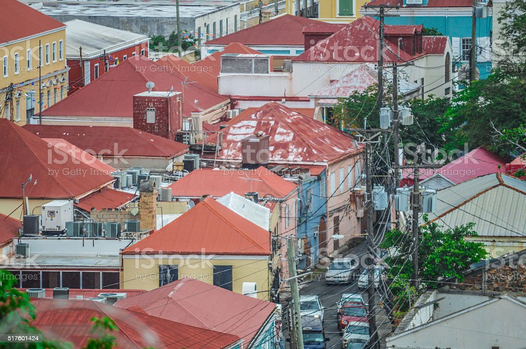 Colonial architecture - Rooftops in the Caribbean stock photo