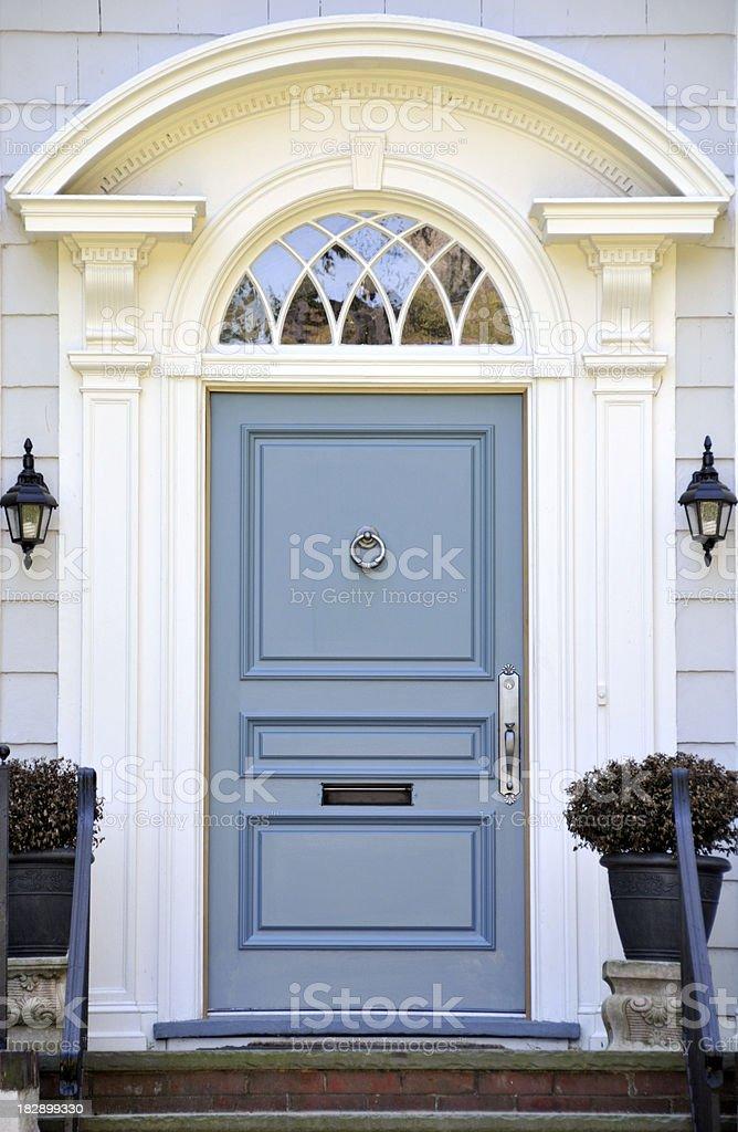 Colonial Blue Door stock photo