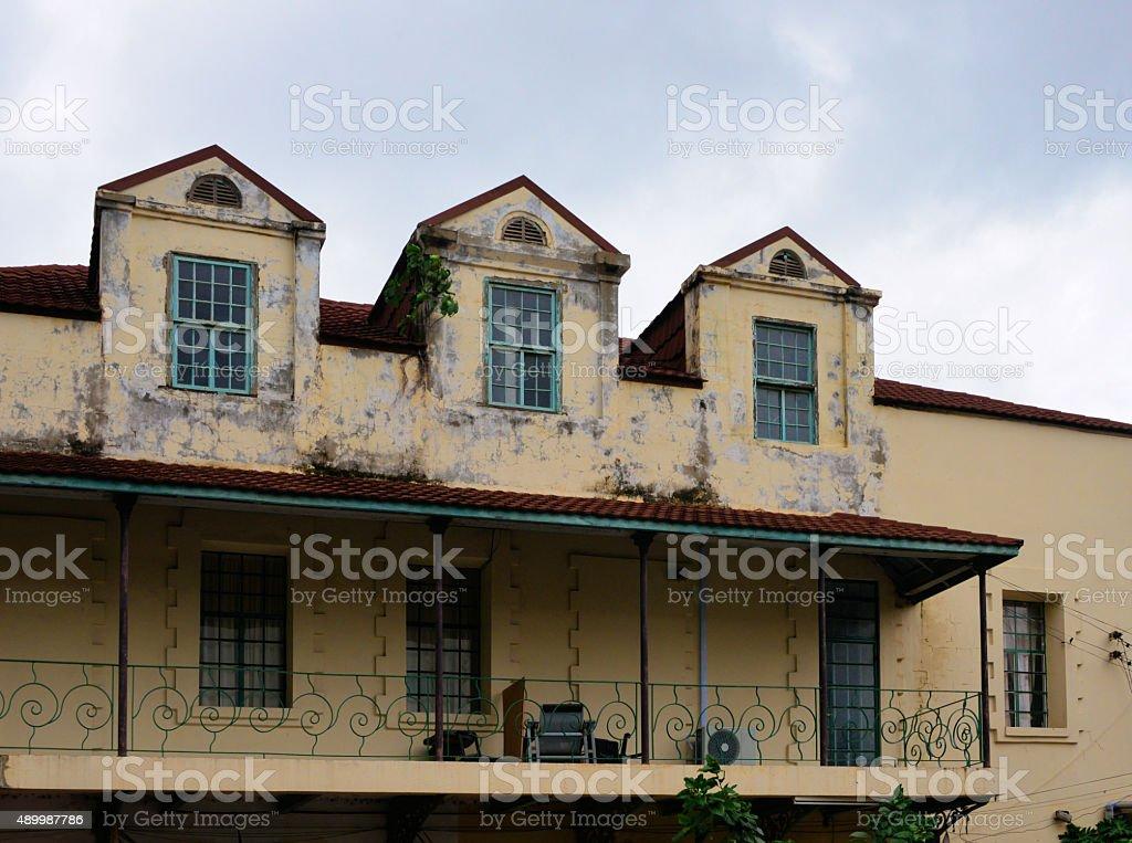 Colonial building, Ecowas avenue, Banjul, Gambia stock photo