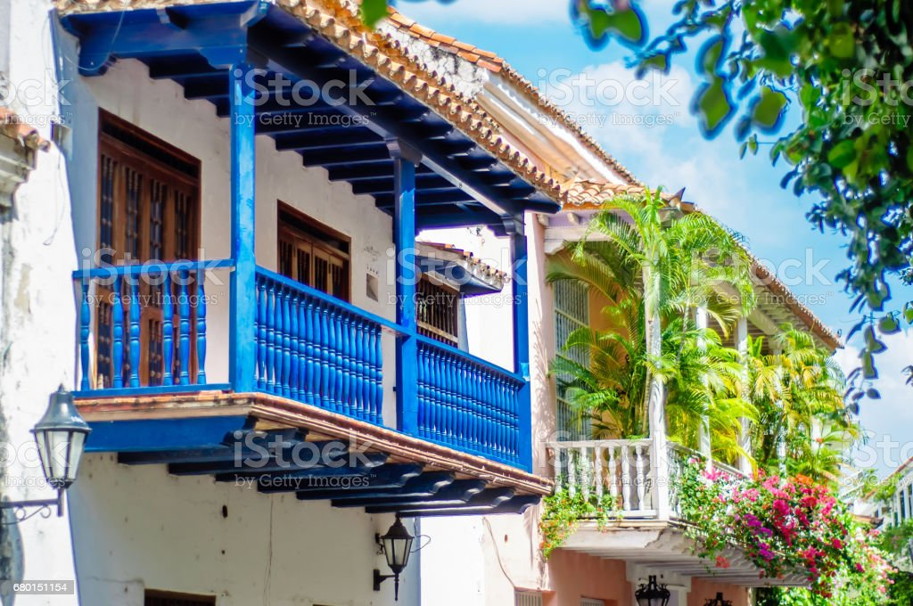 Colonial building in Cartagena - Colombia stock photo