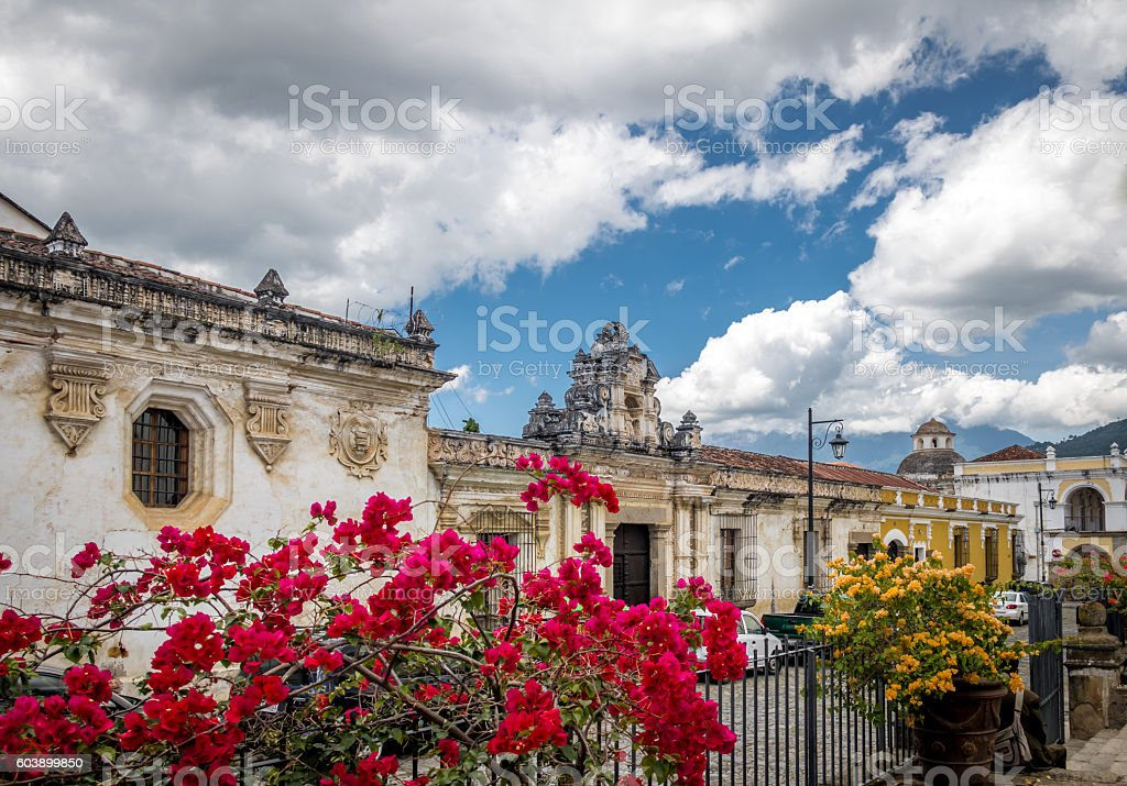 Colonial buildings and flowers - Antigua, Guatemala stock photo