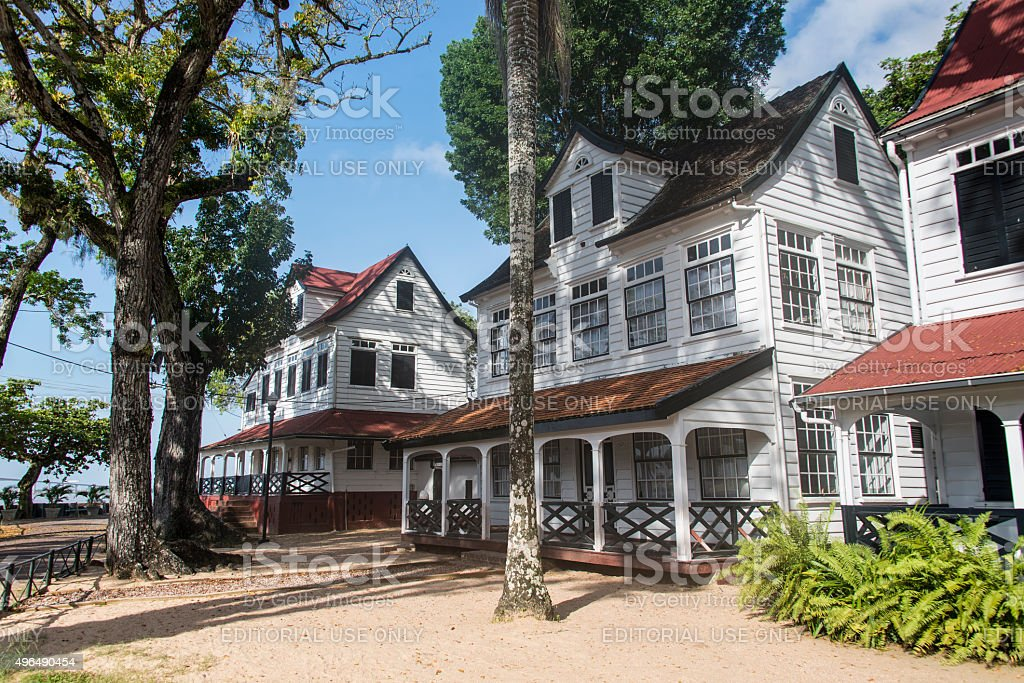 Colonial buildings in Paramaribo stock photo