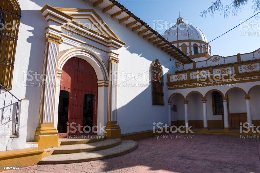 Colonial Catholic church building in Chiapas stock photo