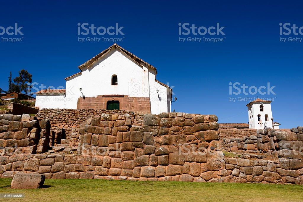Colonial church built over Incan ruins at Chinchero, Peru stock photo
