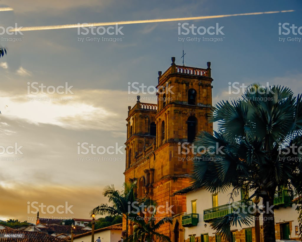 Colonial church of Barichara in Colombia stock photo