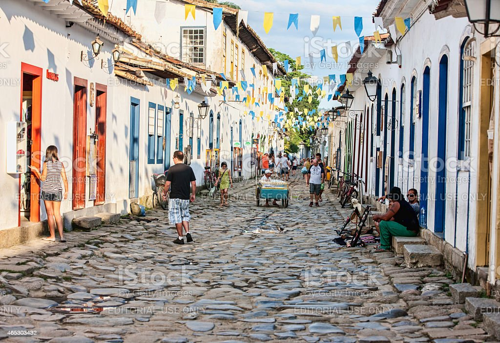 Colonial cobblestone street in Brazilian town of Paraty stock photo