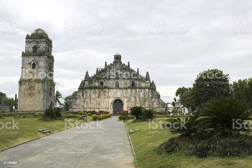colonial coral built paoay church illocos philippines stock photo