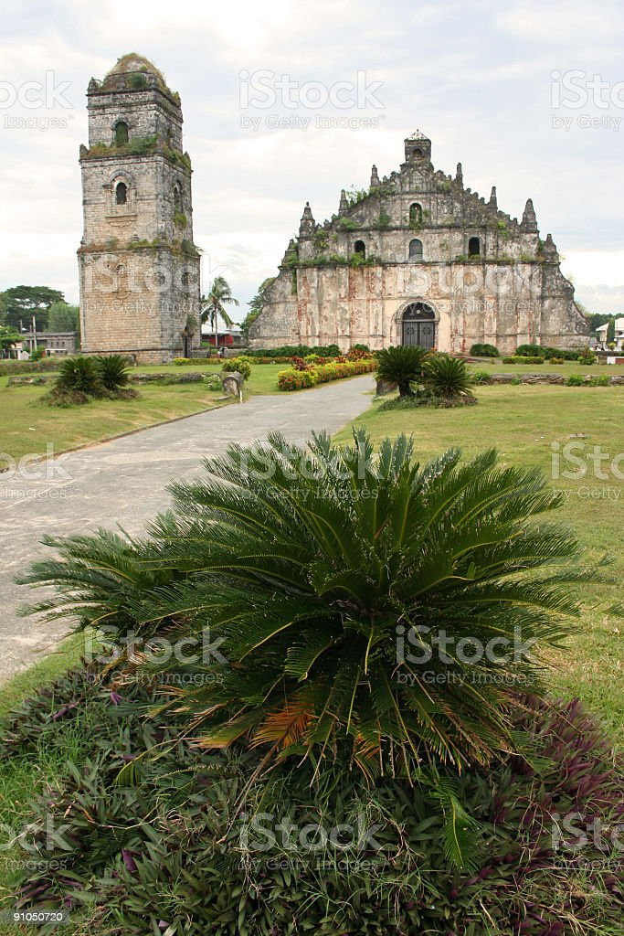 colonial coral paoay church illocos philippines stock photo