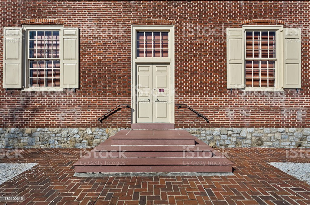 Colonial Court House of Brick and Stone stock photo
