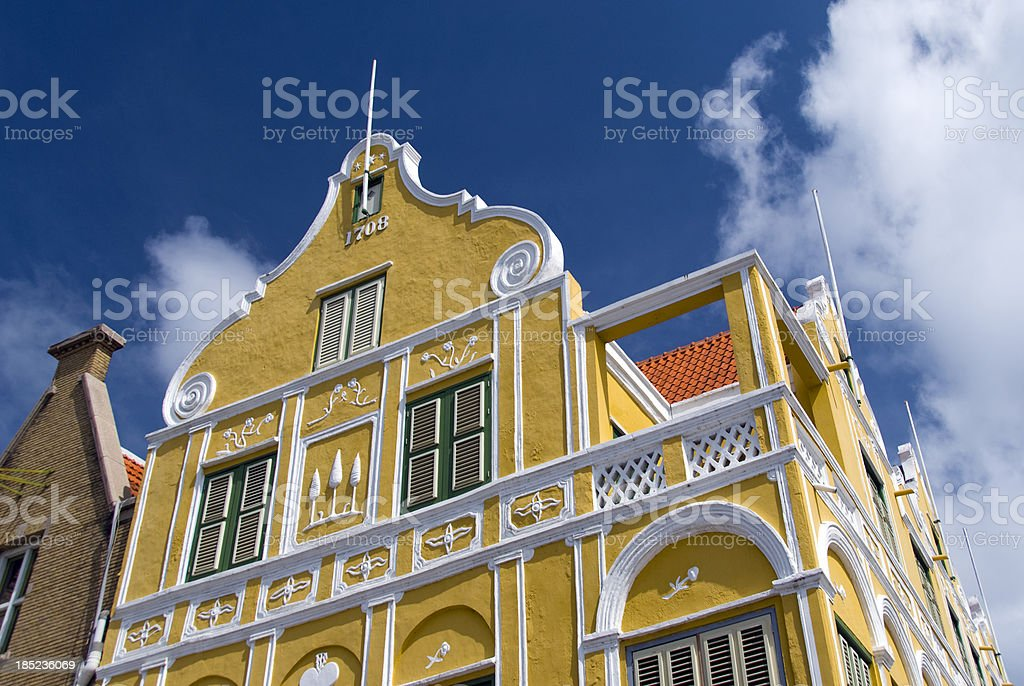 Colonial Facade in Willemstad stock photo