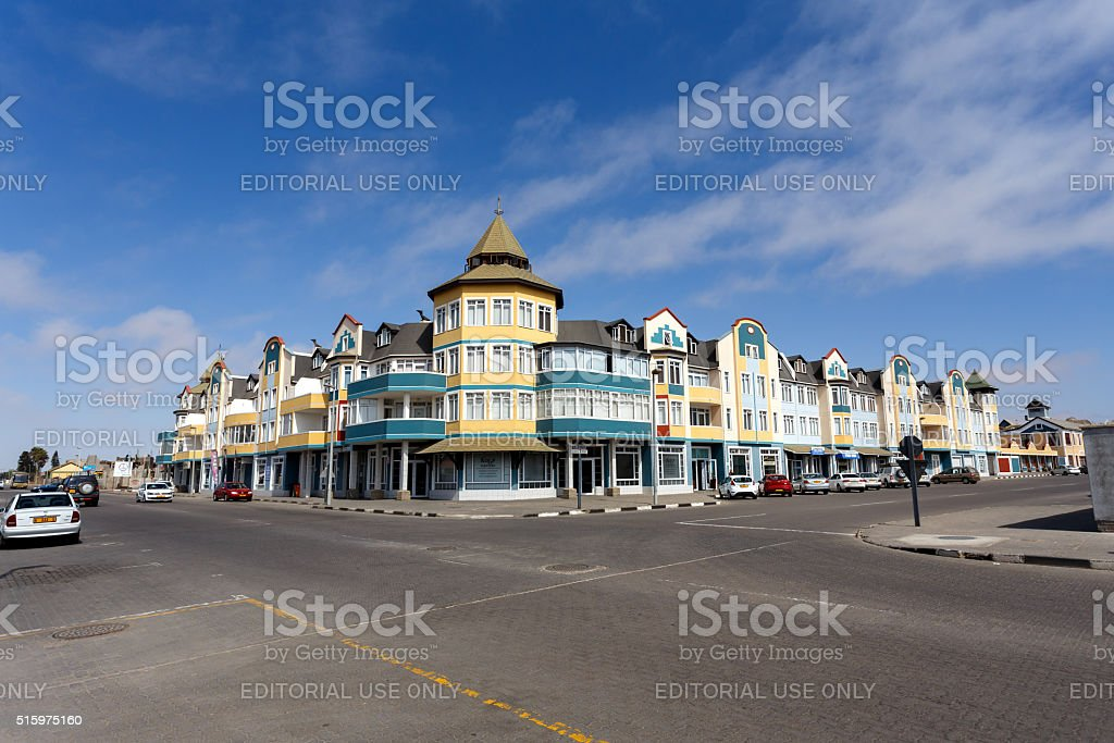 colonial German architecture in Swakopmund stock photo