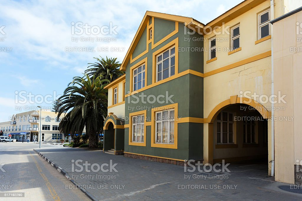 colonial German architecture in Swakopmund stock photo