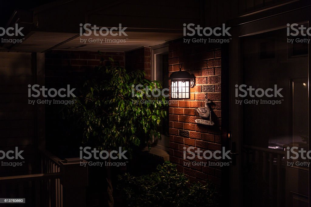 Colonial Home Entrance Front Porch Warm Evening Welcome stock photo